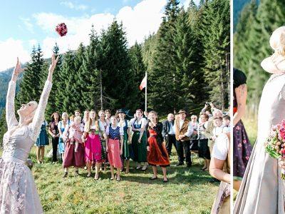 Hochzeit im Dirndl hoch in den Bergen